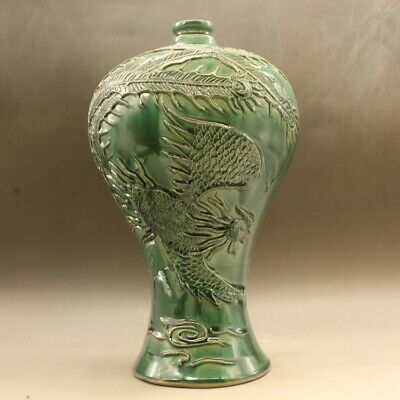 Chinese old hand-made green glaze carving dragon and phoenix mei vase