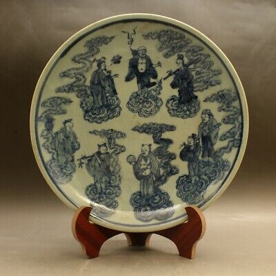 Chinese old hand-made blue-and-white Eight Immortals porcelain dish