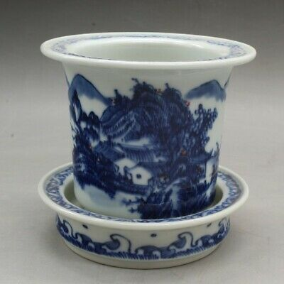 Chinese old hand-made blue and white porcelain fleshiness Calamus flowerpot