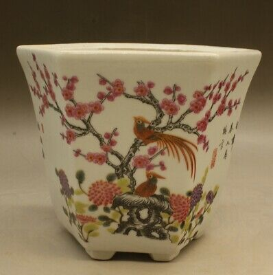 Chinese old hand-made famille rose Flowers and birds brush pot