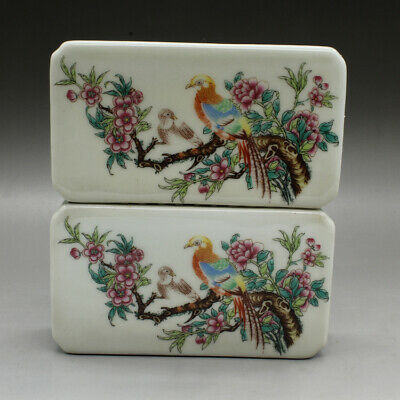 a pair Chinese old hand-made famille rose Flowers and birds paperweight