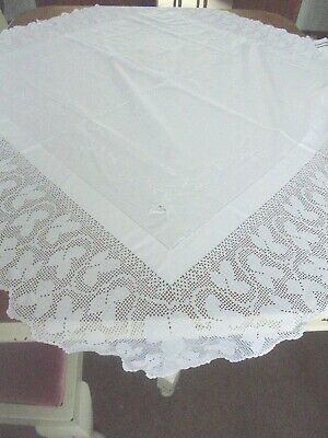 Beautiful  VINTAGE French OLD LACE EDGE tablecloth White  NEEDS ATTENTION