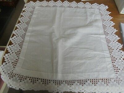 Vintage White Linen Small TableCloth Crochet Lace Edge