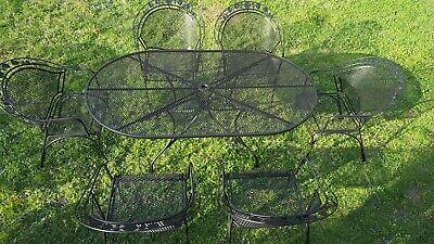 Russell Woodard Classic Rose Wrought Iron Patio Set, 6 Wide Barrell Chairs