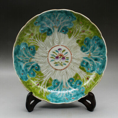 Chinese old hand-made famille rose Chinese cabbage porcelain dish