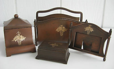 Antique Benedict Bronze Desk Set Arts & Crafts Mission Gold Gilt Letter Ink Well