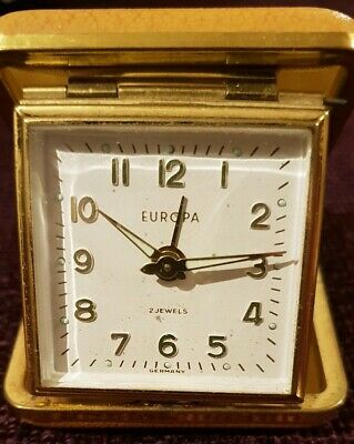 Vintage Working Europa Travel Alarm Clock, 2 Jewels, Made In Germany
