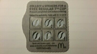 12 McDonald's coffee/Tea vouchers valid to 31/12/2019