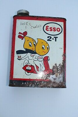 Ancien Bidon D'huile Old Oil Can Tin Esso 2 Temps Scooter Vespa