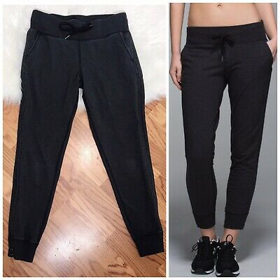 8b0d86e1aa129d Lululemon No Sweat Pant 6 Jogger Heathered Black Grey 6 Sweatpants Side  Zipper