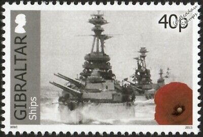 WWI Royal Navy Warships Led by HMS BENBOW Battleship Stamp (2015 Gibraltar)