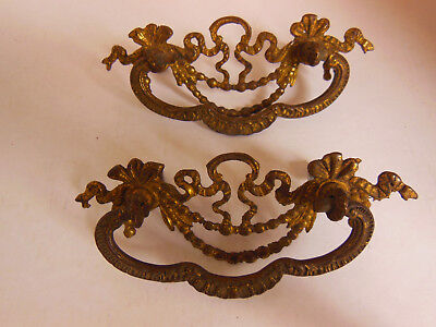 Set 2 Matching Authentic Antique Solid Brass Drawer Pulls Ornate Ribbon Design