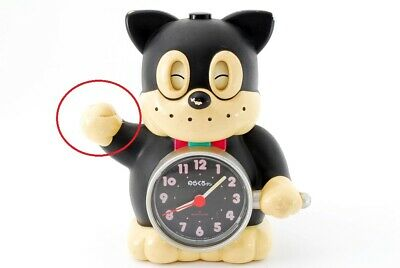 Vintage Rhythm Black Cat Talking Alarm Clock w/Bugle Norakuro[Exc--]From Japan