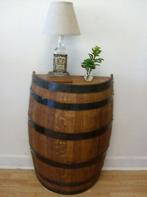 Half Whiskey Barrel Foyer Table-Accent Table-Rustic Decor-FREE SHIPPING