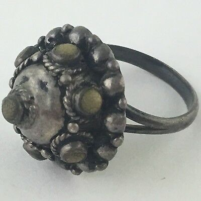 Antique Sterling Silver Possibly Chinese Beaded Dome Ring Size 7.25