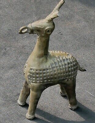 Antique Chinese Eastern Small Brass Stylised Animal Possibly Deer 19th Century
