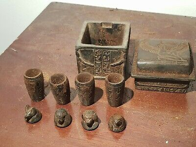 Antique Rare Ancient Egyptian 4 canopic Jars & Box God Serket Horus 1720-1640BC