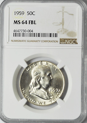1959 50c Franklin Silver Half Dollar NGC MS64 FBL Brilliant Uncirculated