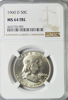 1960 D 50c Franklin Silver Half Dollar NGC MS64 FBL Brilliant Uncirculated