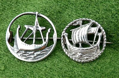 Two Vintage Norwegian Style Solid Silver 'longship' Brooches - Estate Clearance
