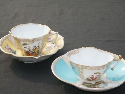 Helena Wolfsohn Watteau Cups & Saucers Turquoise Miniature & Larger Yellow Cup
