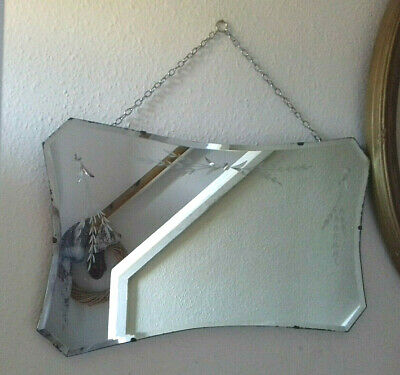Lovely Vintage Very Large Art Deco Frameless Mirror Flower Etching
