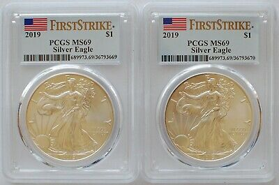 (2) 2019 American Silver Eagle PCGS MS69 First Strike