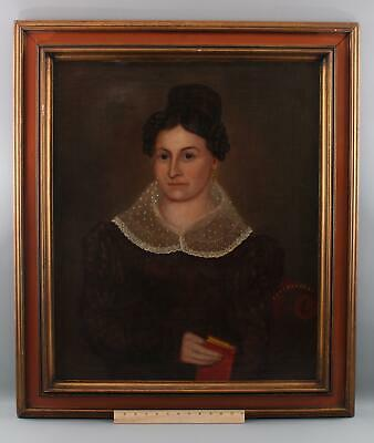 Antique 1820s American School Folk Art Portrait Oil Painting, Woman & Red Book
