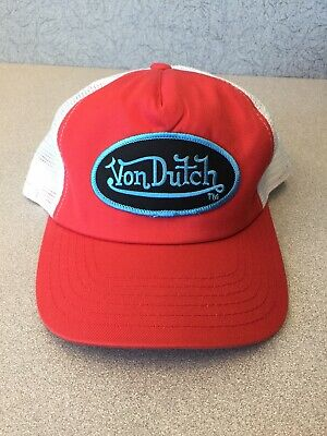 2601b3bd NEW GENUINE Von Dutch Mesh Trucker Biker Snapback Hat Cap Adjustable RED  WHITE