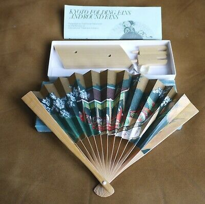 Vintage Japanese Kyoto Folding Fan Boxed With Stand Excellent