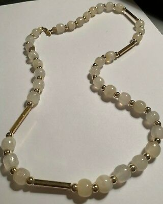 Vintage Antique Jewelry Necklace Art Clear White Glass Gold Bead Strand  B5
