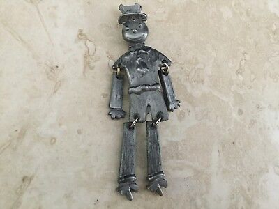 """RARE Articulated Dangle Silver tone Metal Hobo Figure Pin brooch 3"""" collectible"""