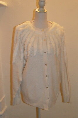 Cardigan bianco perline e lapin vintage fur and pearls cardi L