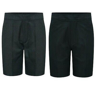 New Boys Pull Up School Shorts Pull On Black Grey Age 2-3 to 7-8 Years