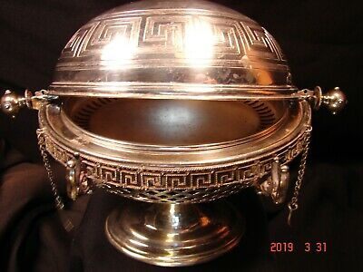 1800's Antique Silver Rotating Cover Butter Dish On Pedestal c/ Original Insert