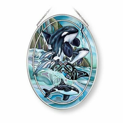 """Orca Killer Whales Sun Catcher AMIA 7""""x5"""" New Hand Painted Glass Breath of Power"""