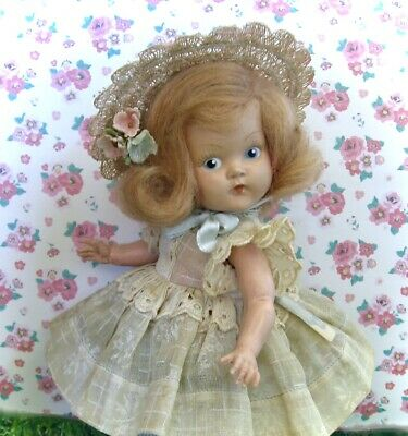 Darling Vintage Hard Plastic Painted Eye Ginny Doll W/ Ink Spot1950 Tag By Vogue