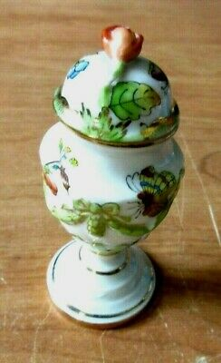"""Herend Hungary Minature Vase + Cover 3.5"""" Porcelain"""