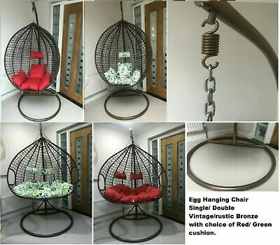 1/2 seat seater double Rattan Swing Patio Garden Weave Hanging Egg Chair Cocoon
