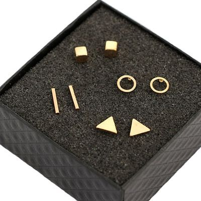 4 Pairs Tiny Circle T Bar Earring Geometric Triangle Ear Stud Earrings Set