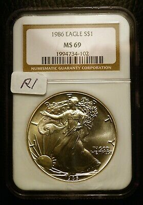 1986 Silver $1 ASE American Eagle NGC MS69 $90 Blast White Luster (R1)
