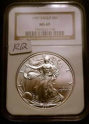 1997 Silver $1 ASE American Eagle NGC MS69 $90 Blast White Luster (R12)