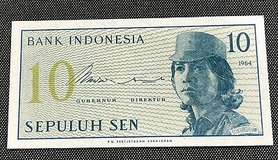 Indonesia 10 Sen Note Minimally Circulated Condition & Highly Collectible