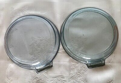 Two Vintage Pyrex Flameware 817B Glass Pans No Handle Clear Blue 1940's