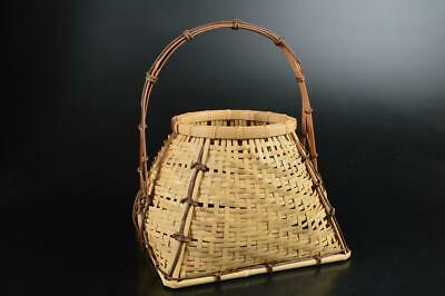 S4595: Japanese Wooden Bamboo FLOWER BASKET flower vase/case with the handle