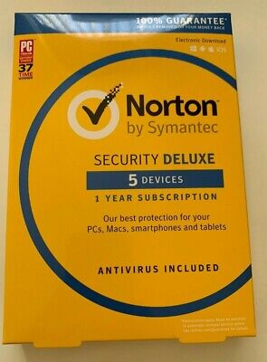 Norton Security Deluxe 2019 5 Devices 1 Year for PC MAC and mobiles NEW