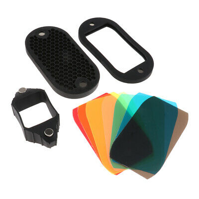 2 in 1 Universal Honeycomb Grid with 7 Color Gels Kit for Flash Speedlight