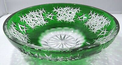Large Vintage Bohemian Glass Green Cut to Clear Bowl (d:28cm)