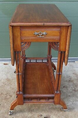 Antique Victorian Mahogany Drop-Leaf Occasional Table in the Aesthetic Style