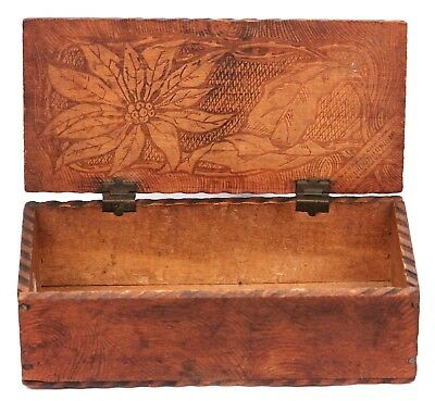 Antique Vintage Art Nouveau Wooden Trinket Box Pyrography Pokerwork Poinsettia